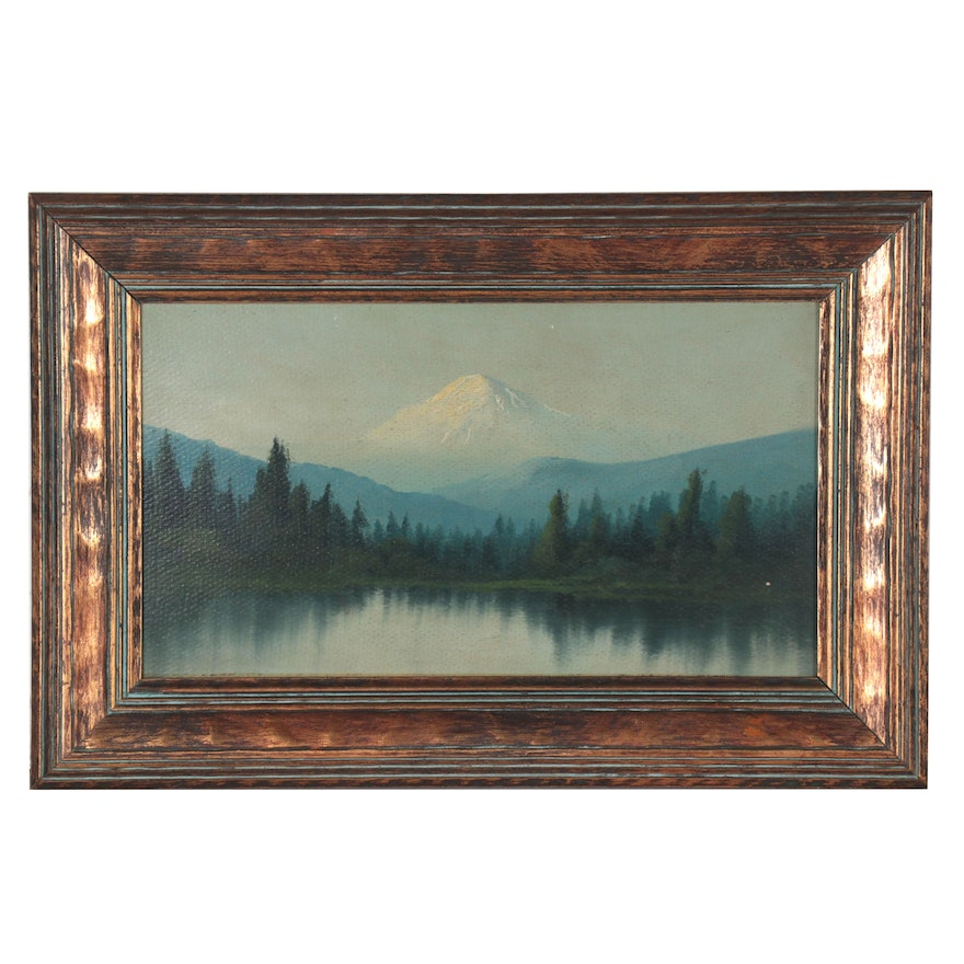 Landscape Oil Painting of Mountains, 20th Century