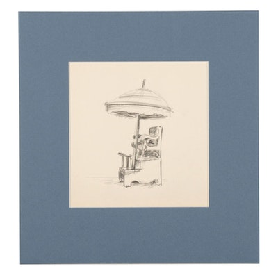 W. Glen Davis Graphite Drawing of a Shoe Shine Chair with Umbrella