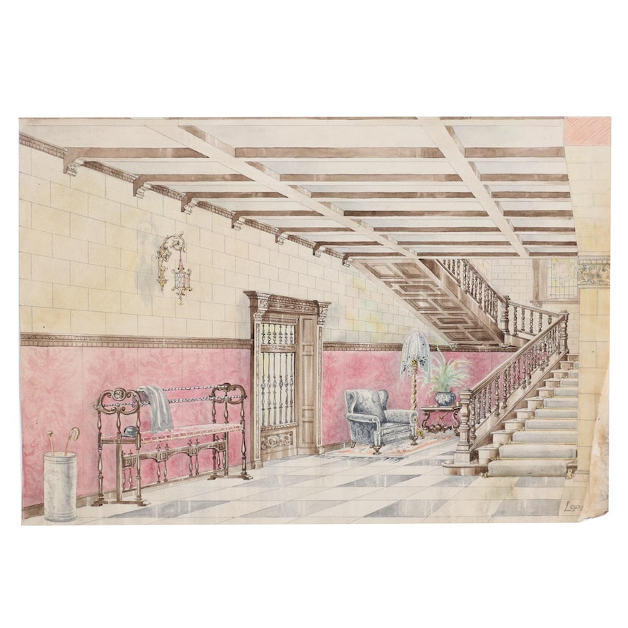 Manuel Lopez Watercolor Painting of Foyer, Early 20th Century