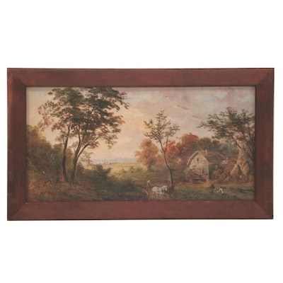 Genre Style Oil Painting of Farmers, Early 20th Century