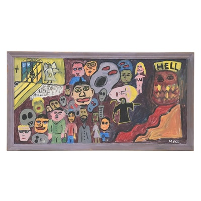 Folk Art Acrylic Painting of Heaven and Hell, circa 2000