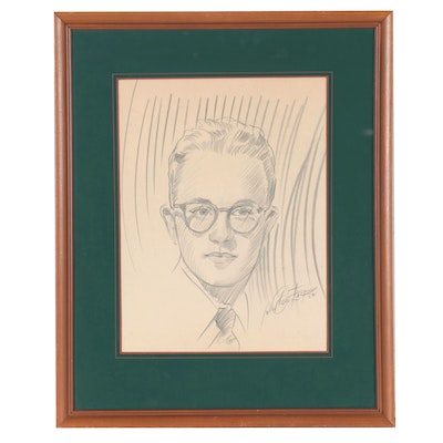 Graphite Portrait of Young Man, Mid-Late 20th Century