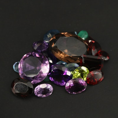 Loose Mixed Gemstones Including Amethyst, Garnet and Smoky Quartz