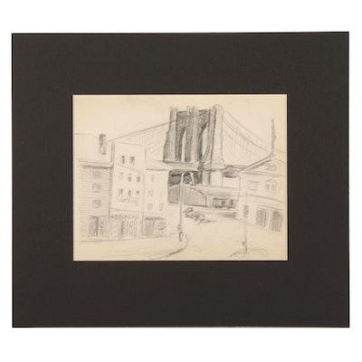 W. Glen Davis Graphite Drawing of the Brooklyn Bridge