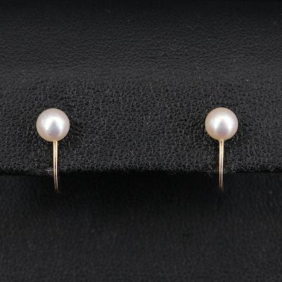 10K Pearl Screw Back Earrings