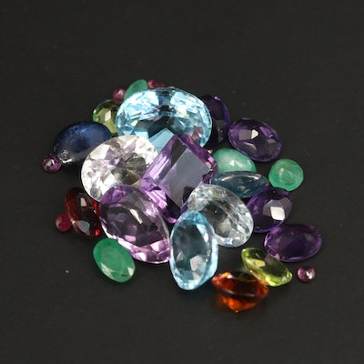 Loose Mixed Gemstones Including Sapphire, Amethyst and Topaz