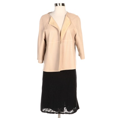 J'Envie Perforated Leather Jacket and Miu Miu Black Floral Skirt