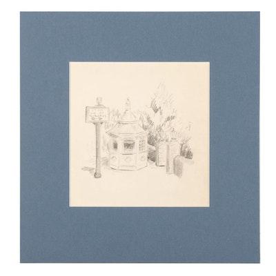 W. Glen Davis Graphite Drawing of a Metropolitan Pavilion