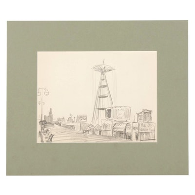 W. Glen Davis Graphite Drawing of an Amusement Pier