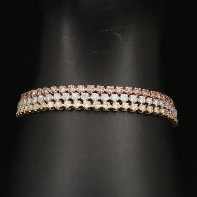 18K Tri-Color Gold 8.11 CTW Diamond Multi-Strand Line Bracelet