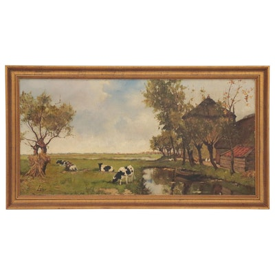 Landscape Oil Painting of Pasture with Animals, Mid-20th Century