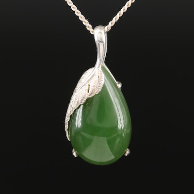 Sterling Nephrite Pendant Necklace