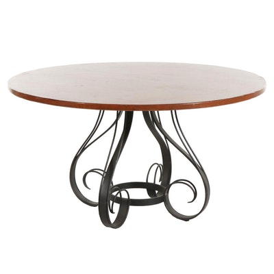 Milling Road by Baker Furniture Round Dining Table with a Wrought Iron Base