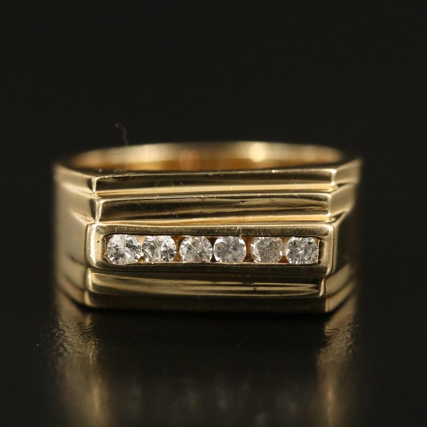 14K Channel Set Diamond Bar Ring