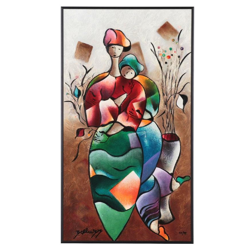 """David Schluss Embellished Serigraph """"Embrace,"""" 2002"""