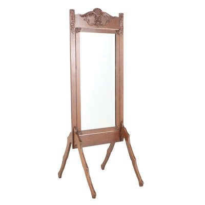O.W. Cotton Late Victorian Oak Cheval Mirror, Late 19th/Early 20th Century