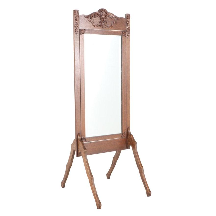 O.W. Cotton Late Victorian Oak Cheval Mirror, Late 19th/Early 20th Century