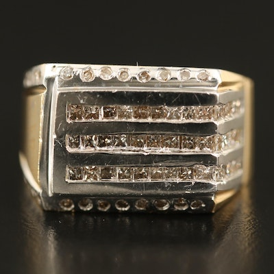 14K 1.45 CTW Diamond Multi-Row Ring