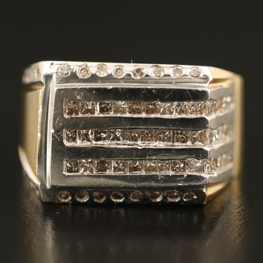 14K 1.45 CTW Diamond Multi-Row Ring