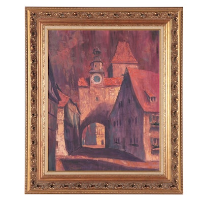 "E. Chamberlin Oil Painting ""Rothenburg,"" Late 20th Century"