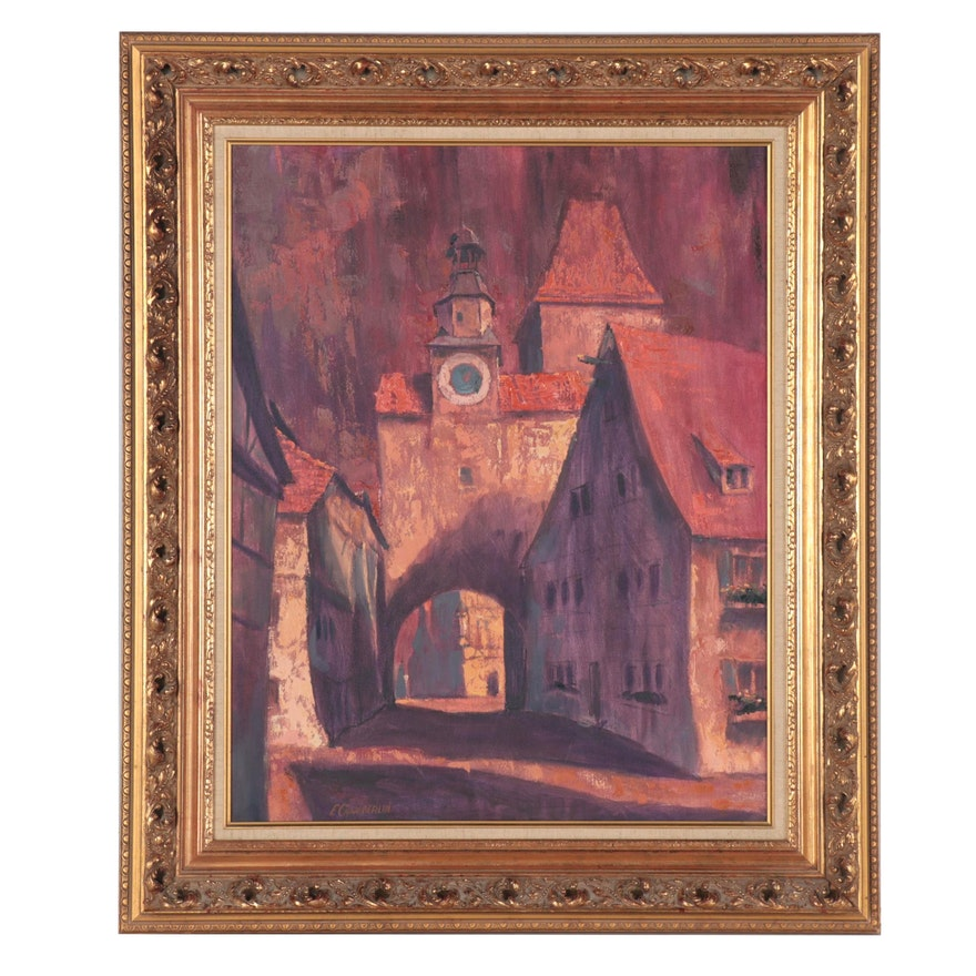 """E. Chamberlin Oil Painting """"Rothenburg,"""" Late 20th Century"""
