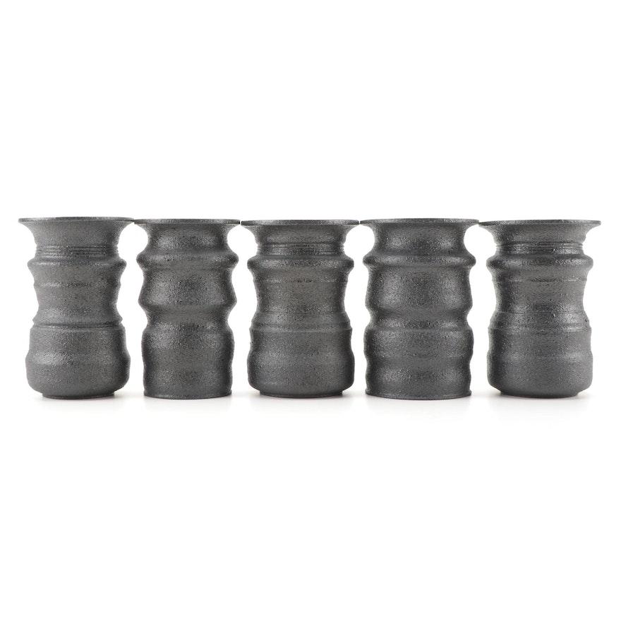 "Greg Payce Wheel Thrown Textured Glaze ""Child"" Optical Illusion Vases"