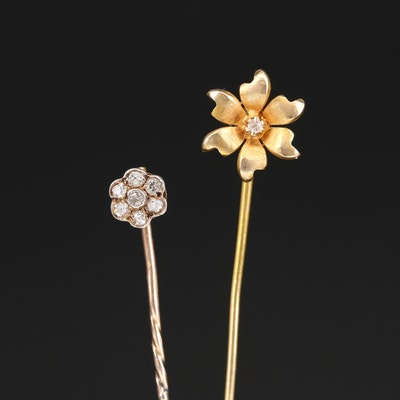 Antique 9K, 14K and 800 Silver Flower Stick Pins