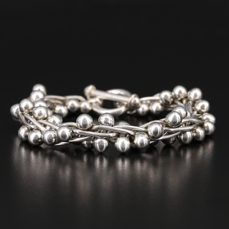 Sterling Twisted Cable Bracelet with Double Sphere Accents