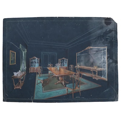 Manuel Lopez Gouache Illustration of Dining Room Interior, Early 20th Century
