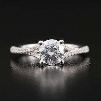 14K Semi-Mount Diamond Ring with Cubic Zirconia Center