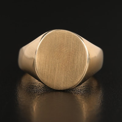 14K Signet Ring with Brushed Face