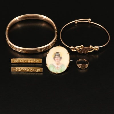 Victorian Jewelry Including Leach & Miller Co Bangle and Painted Portrait Brooch