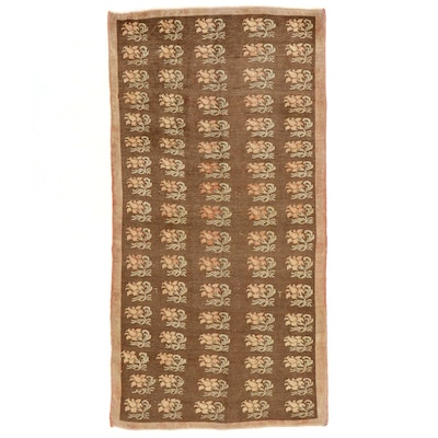 4'11 x 9'8 Hand-Knotted Turkish Oushak Floral Wool Area Rug