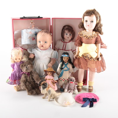 "Reproduction Bleuette, ""Betsy Wetsy"" with Other Dolls and Accessories, Vintage"