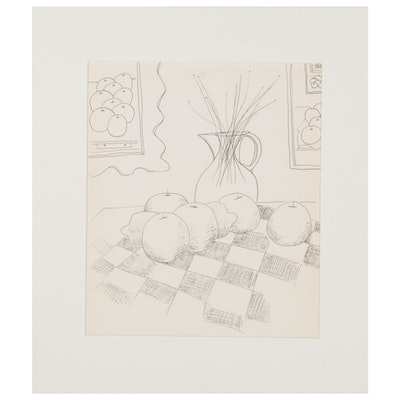 W. Glen Davis Still Life Ink Drawing