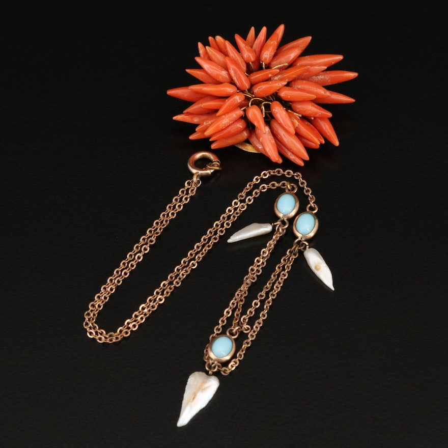 Antique Coral Brooch and Art Nouveau Pearl and Glass Festoon Necklace
