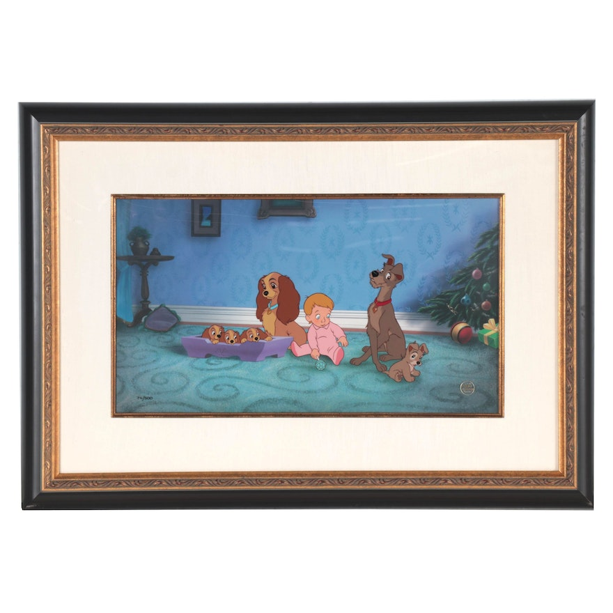"""Hand-Painted Reproduction Cel """"Lady and the Tramp,"""" 1992"""