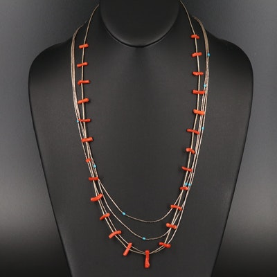 Southwestern Liquid Silver Necklaces Including Coral and Faux Turquoise