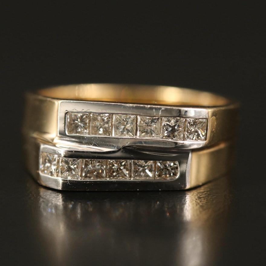 14K 1.20 CTW Diamond Double Row Ring