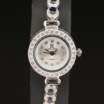R Luxury Brand Sterling Sapphire and Cubic Zirconia Wristwatch