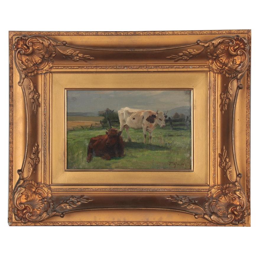 Fritz Grebe Pastoral Landscape Oil Painting