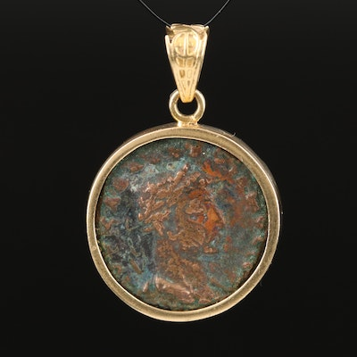 18K Ancient Roman Imperial Billon Tetradrachm Coin, ca. 250 A.D. Pendant