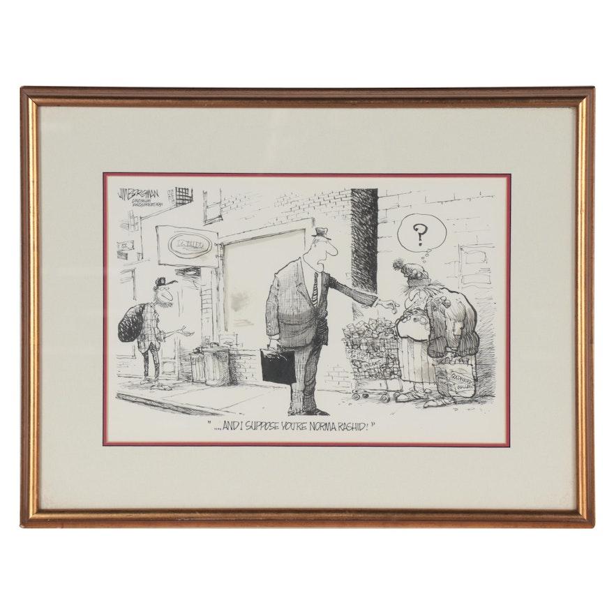 "Jim Borgman Ink Drawing for ""The Cincinnati Enquirer,"" 1991"