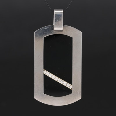 14K and Titanium Diamond Dog Tag Pendant