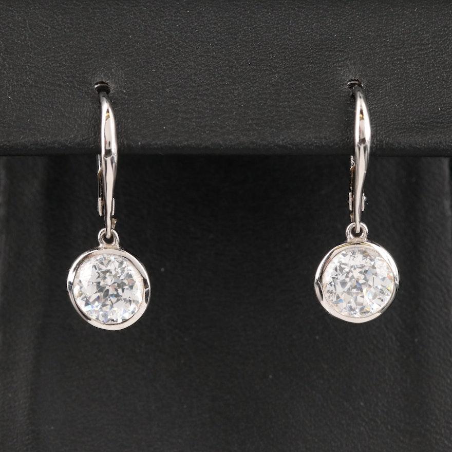 Sterling Silver Cubic Zirconia Bezel Set Earrings
