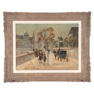 Louis van der Pol French Street Scene Oil Painting