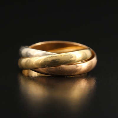 Cartier 18K Tri-Color Trinity Rolling Ring