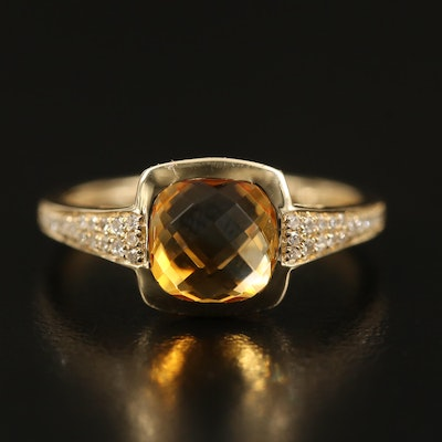 14K Citirne Ring with Diamond Shoulders