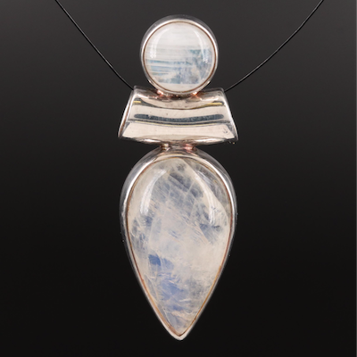 Sterling Moonstone Slide Pendant