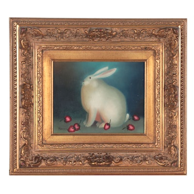 Folk Art Oil Painting of a Rabbit, Late 20th Century